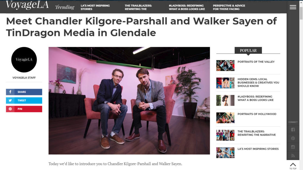 Tin Dragon's team of Chandler Kilgore-Parshall and Walker Sayen with image by Mark Nicholas of Manhattan Beach Studios